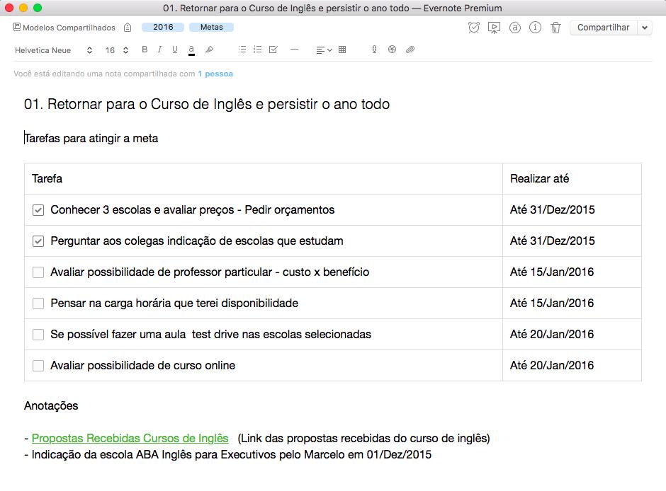 Evernote Metas - Plano de Tarefas com Evernote - Acompanhar as Metas com o Evernote