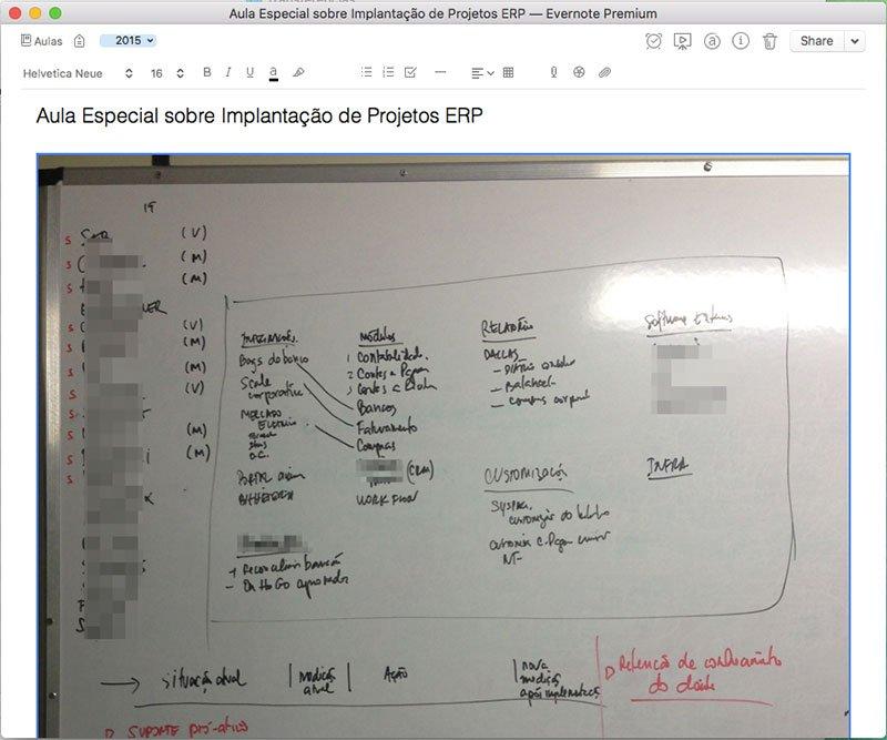 Estudos com o Evernote - Anotações em quadro capturadas para o Evernote