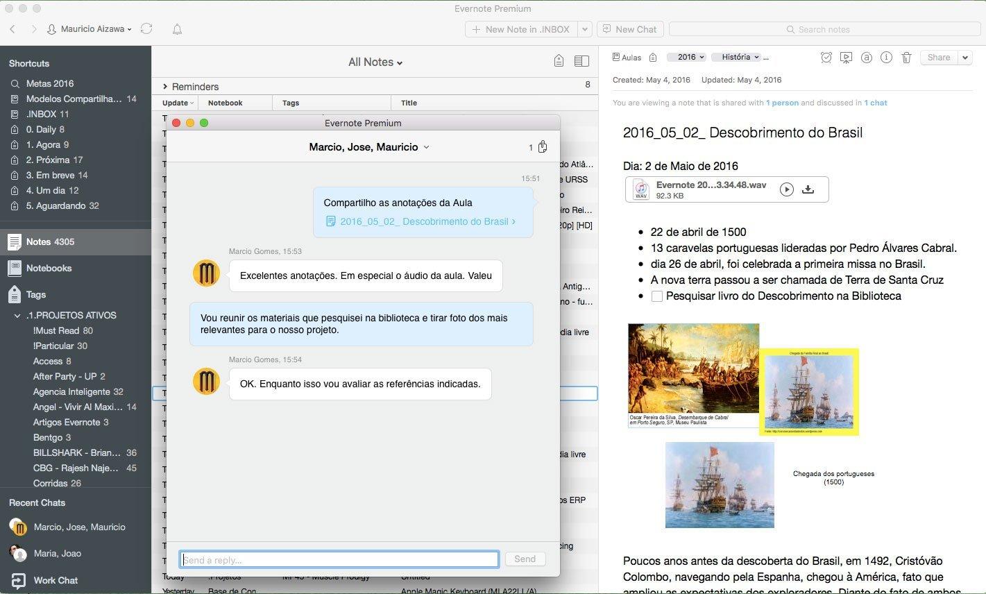 Estudos com o Evernote - Usando o Evernote Workchat