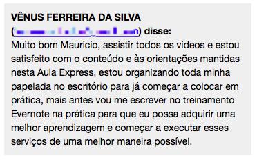 Depoimento Vênus Silva Curso Evernote Iniciantes