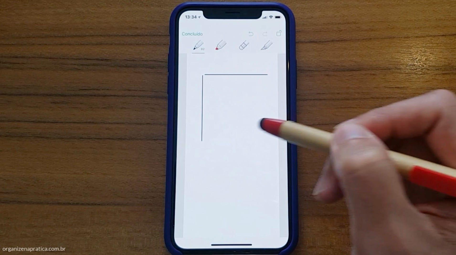 Anotações a mão usando o Evernote