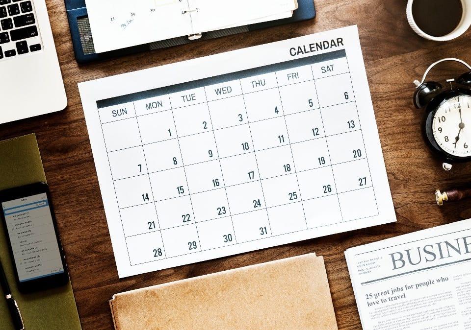 Calendário 2019 Evernote