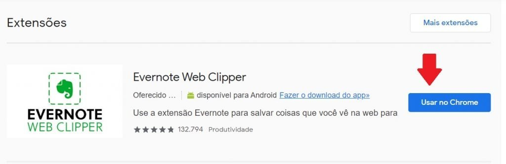 extensão Evernote Web Clipper
