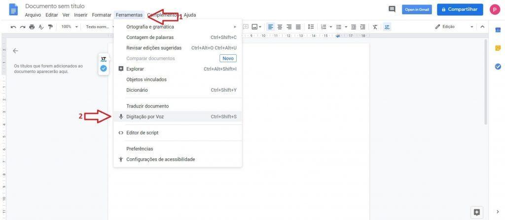 Digitação por voz - Google Drive