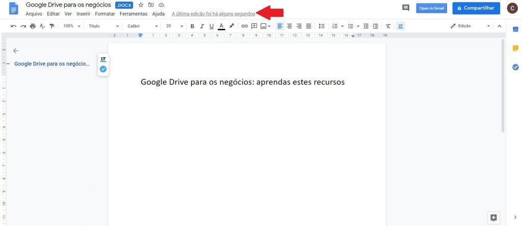 Google Drive - histórico de revisões