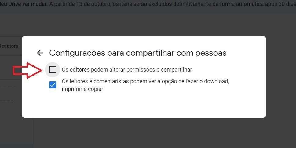 configurações para compartilhar - Google Drive