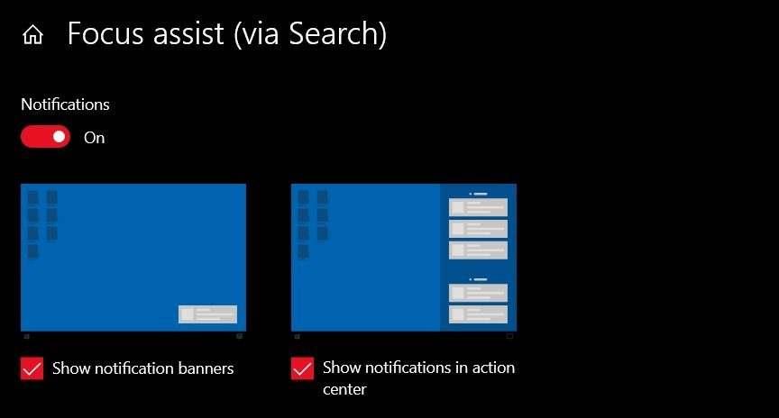 Focus Assist - Windows 10