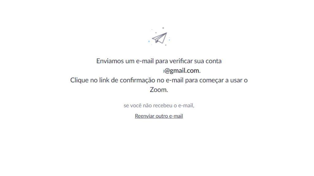 confirmação de email - Zoom Meetings